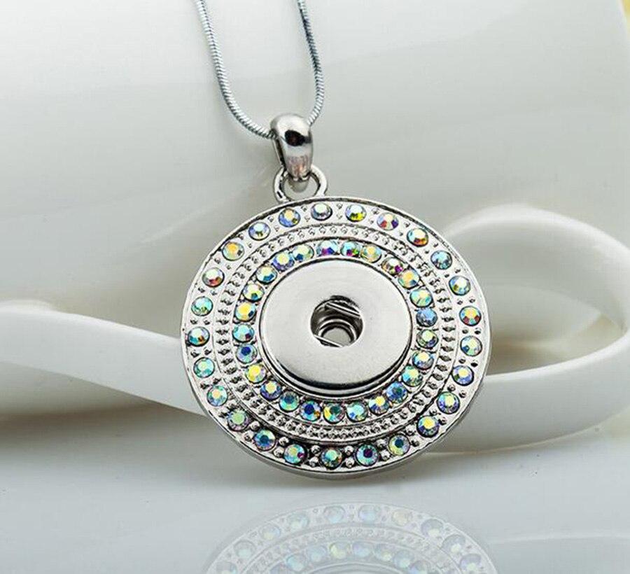 New Elegant Silver Color Rhinestone Snaps Necklace & Pendants