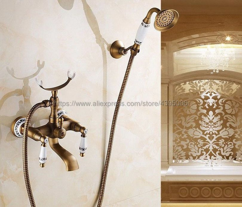 Antique Brass Dual Handles Bathtub Faucet Wall Mounted Swive Spout with Handshower Tub Mixer Tap Btf308 цена