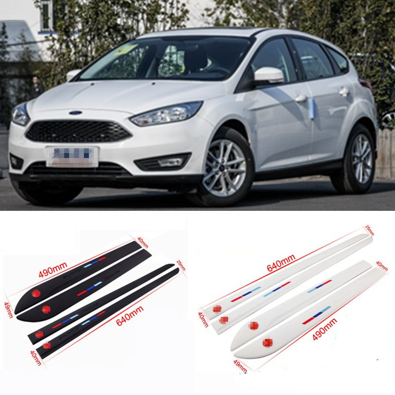 Car-styling 4pcs High Quality Brand New Side Doors Rubber Bumper Protector Guard Scratch Sticker Trim For Ford Vehicle 4 x pieces carbon fiber car side door bumper edge protector trim car styling for ford fiesta st