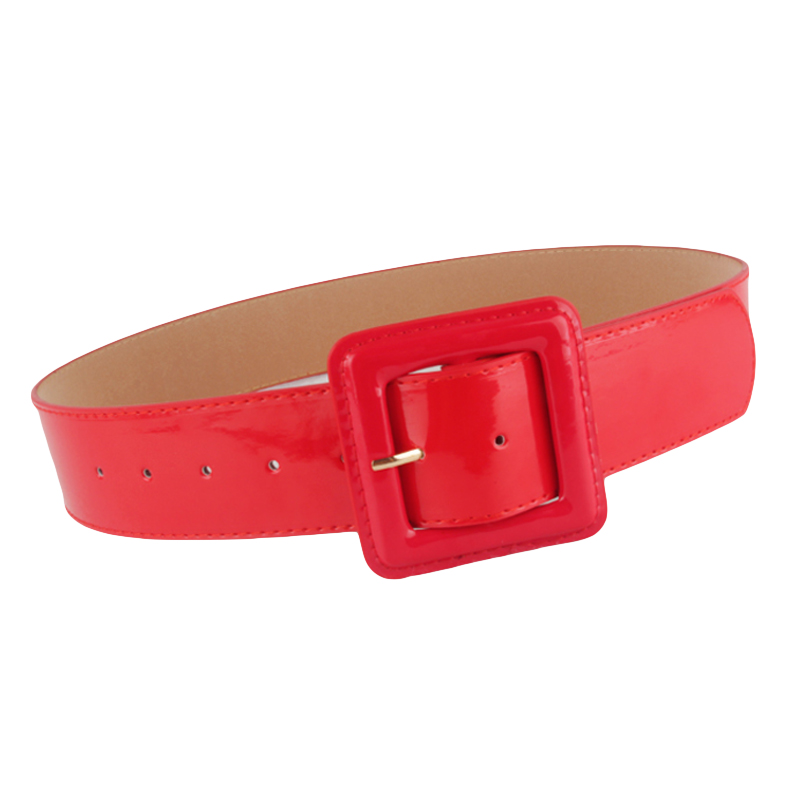 Women Ladies PU Leather Belt One Size Strap Waistband (Black/White/Red)  BLTLL0039