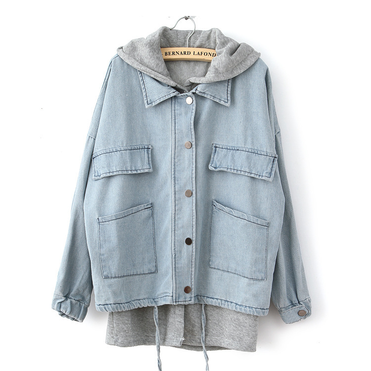 Autumn 2015 Fashion Women Denim Jacket with Hooded Casual Jeans ...