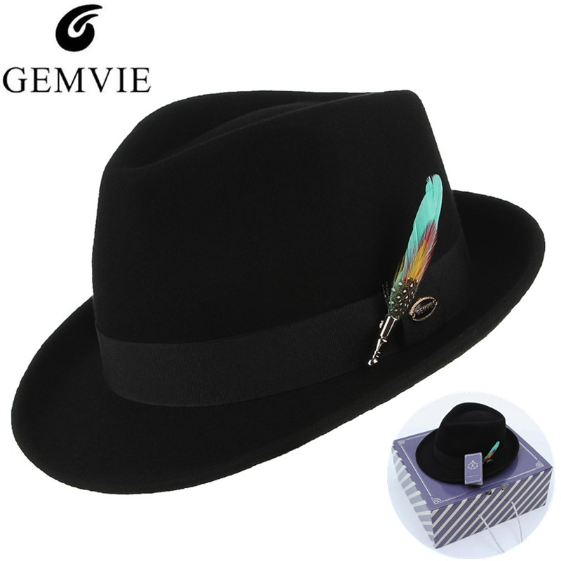 GEMVIE Men Women Trilby Feather Band Formal Fedora Hat Classical Curved Brim 100% Wool Jazz Hat Gentleman's Hat-in Men's Fedoras from Apparel Accessories