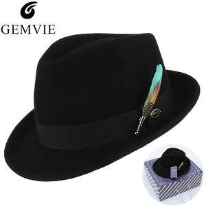 Image 1 - Мужская и женская шляпа трилби GEMVIE, формальная фетровая шляпа с закругленными полями, 100% шерстяной джазовый головной убор