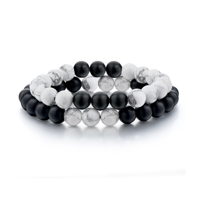 Ensemble Bracelets pour femme & hommes noir et blanc Yin-yang Couples main chaîne Turquoises mat rond perlé bracelet bracelet homme cadeau