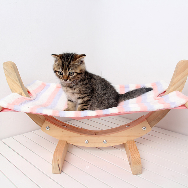 Cat Hammock Bed Breathable Wood Rest Sleeping Soft Comfortable Pets Supplies LBShipping