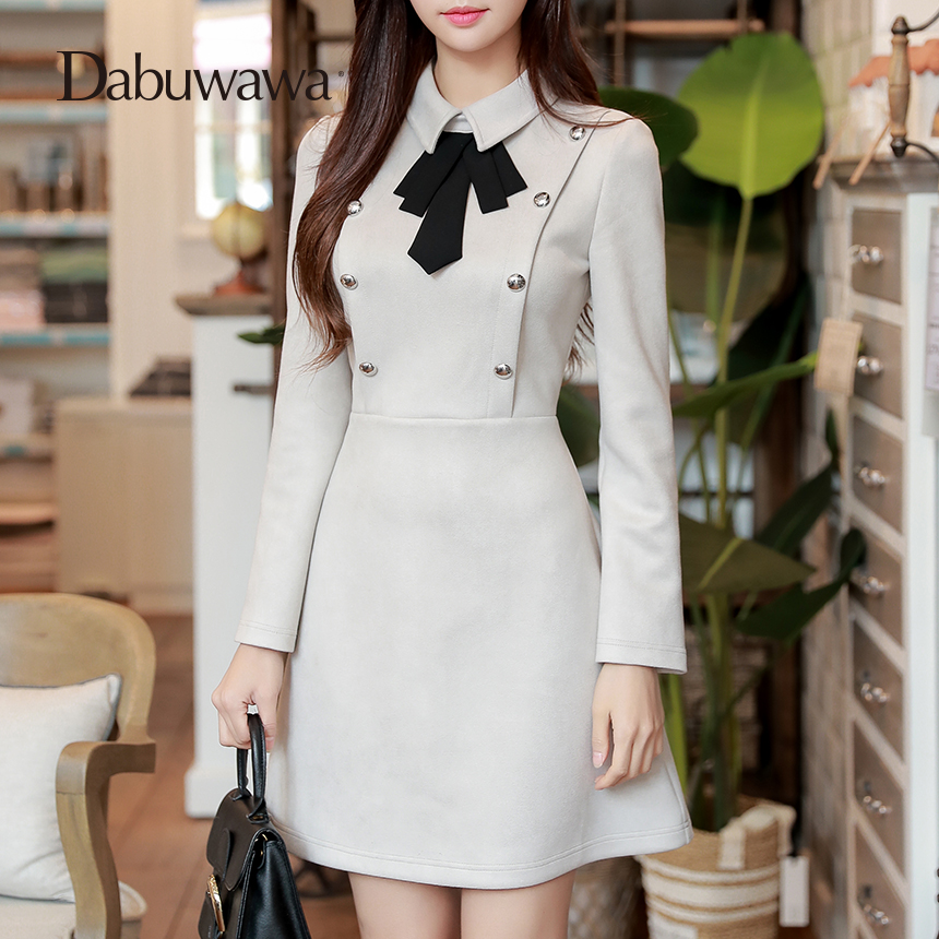 Dabuwawa Tie Neck Button Embellished Keyhole Women Autumn Workwear Grey Vintage Long Sleeve Dress Elegant Business Dress