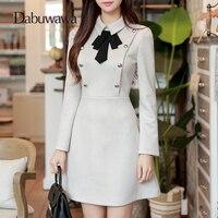 Dabuwawa Tie Neck Button Embellished Keyhole Women Autumn Workwear Grey Vintage Long Sleeve Dress Elegant Business Dress