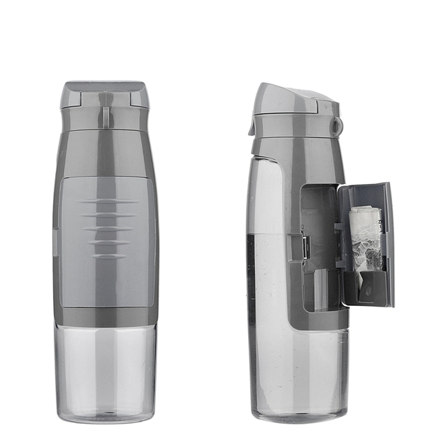 BPA Free 750ml Water Bottle With Storage Compartment Credit Cards ...