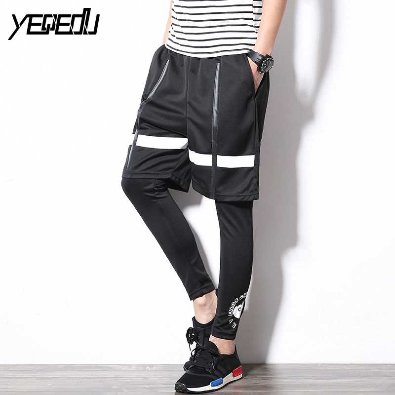 #1609 Summer Compression tights Hip hop dance pants Mens joggers Pantalones hombre Two pieces set With legging Streetwear Punk