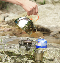 Ergonomic design 1.1L Stainless Steel Portable Outdoor Coffee Pot Water Kettle Teapot With Tea Strainer