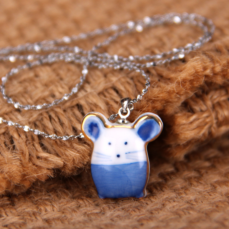 product blue and white porcelain blue and white porcelain Necklace national wind adorn article twelve zodiac cute little mouse