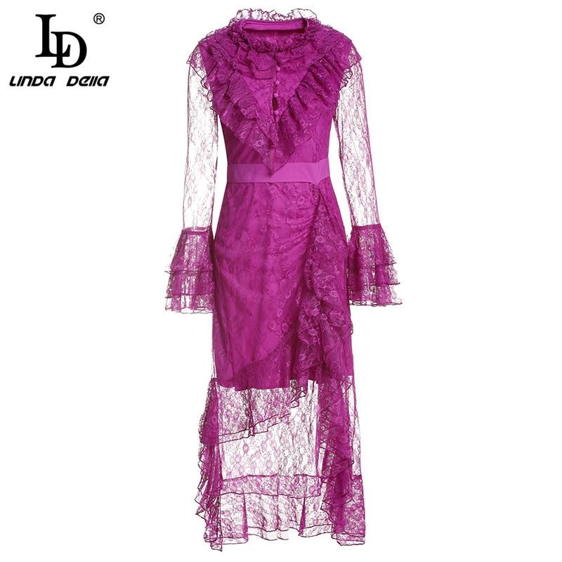 LD LINDA DELLA Printemps Créateur De Mode de Femmes à manches longues Sexy Mesh Ruches Floral robe en dentelle Mince Élégante robe de fête Robe
