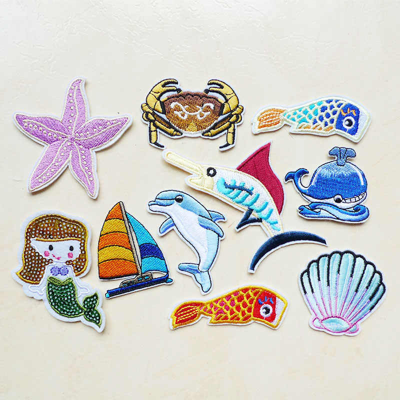 1Pcs Mermaid Fish Shell Sea Animals Sewing Embroidery Iron on Patches for Clothing Sticker Applique Crab Starfish Dolphin Badges
