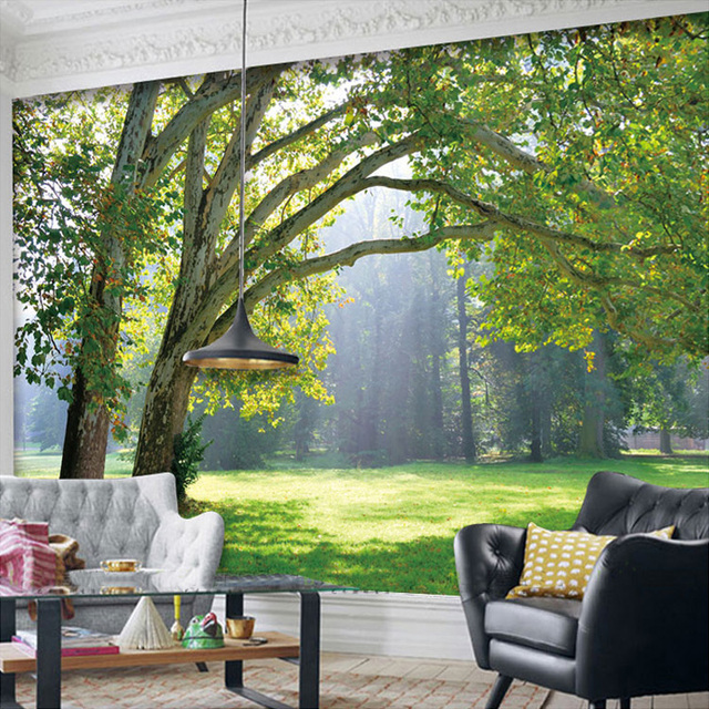 3D Wandbilder Wallpaper Landschaft Fr Wohnzimmer Wald Tapeten Natrliche Wandmalereien Arbeitszimmer TV Kulisse