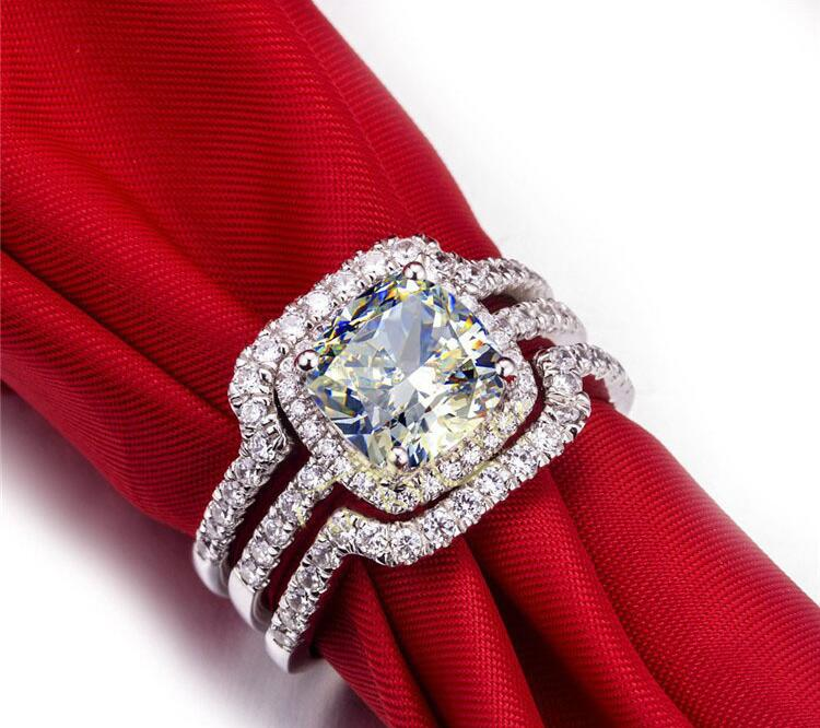 Hot Bridal Set Wedding Ring Set 3 Carat G H VVS1 Cushion Princess