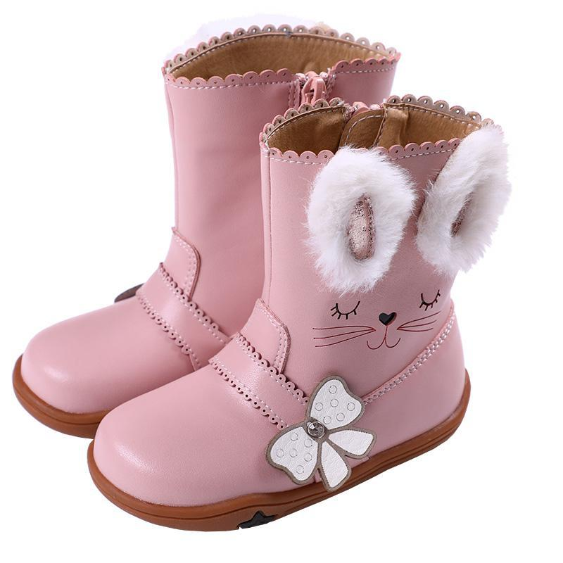 Winter Kids Boots For Girls Boys Mid calf Snow Boots Fashion Cotton Leather Waterproof Shoes Plush Warm Non slip Children Boots