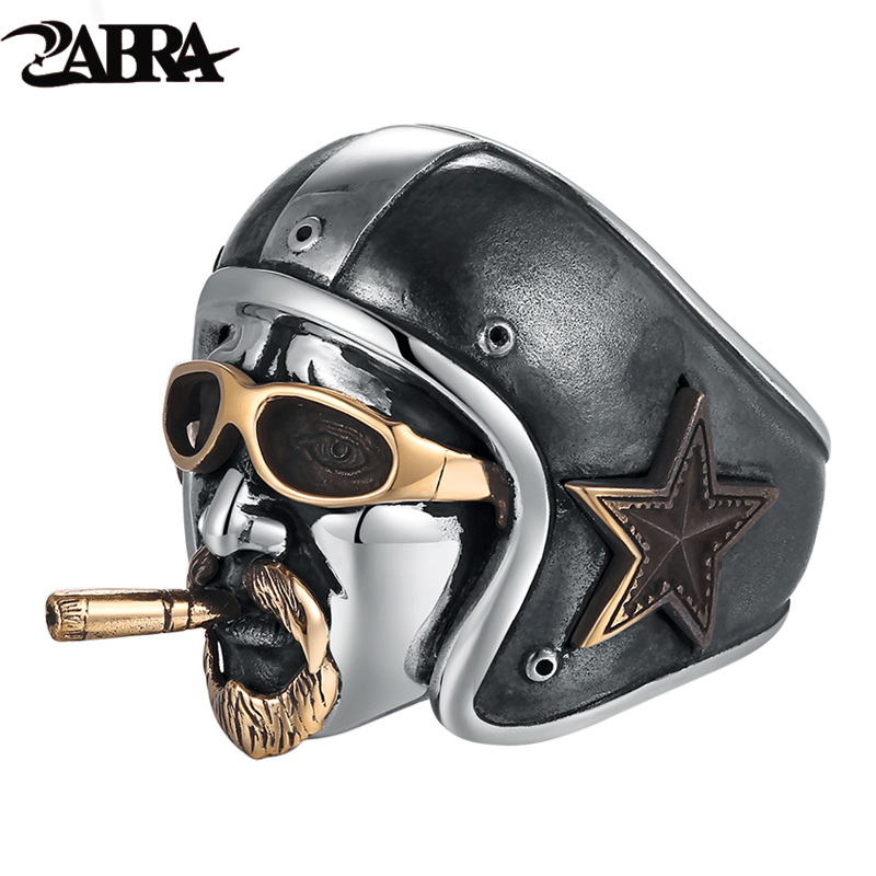 ZABRA Solid 925 Sterling Silver Soldier Skull Men Ring Punk Rock Cool Bar Style Biker Domineering Men Personality unique Jewelry