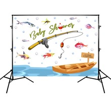 Mehofoto Newborn Baby Shower Background Fish Boat and Fishing Rod Photographic Props for Photo Studio