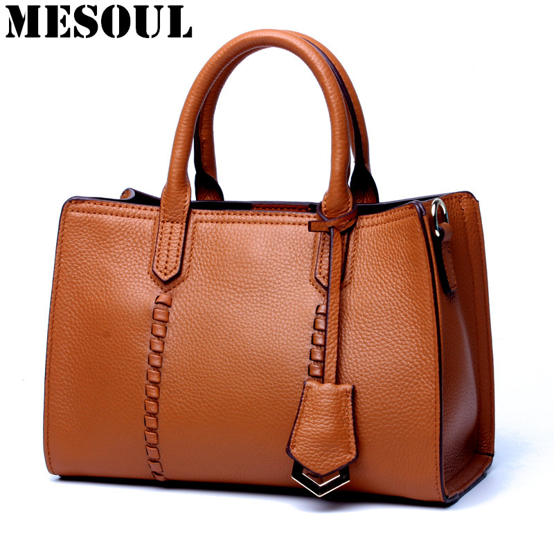 MESOUL Fashion Bag Female Genuine Leather Handbags Women Bags Designer Famous Brands Crossbody Messenger Shoulder Bag Tote Bag qiaobao 100% genuine leather women s messenger bags first layer of cowhide crossbody bags female designer shoulder tote bag