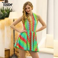 Yesexy 2019 Sexy Beach Dress Halter Boho Mini Dress Sleeveless Striped Off the Shoulder Summer Dress VR1020