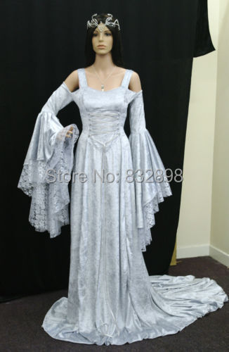 Top Fasion Natural Satin Handfasting Medieval Princess Dress Lotr ...