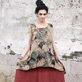 Outline mulher marca solto tops em tendência nacional do vintage t-shirt fino com mulheres da cópia da flor projeto original top curto l142y016