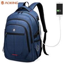 Aoking Внешний USB зарядки сумка для ноутбука Полиэстер Тетрадь рюкзак Для мужчин Для женщин Водонепроницаемый ноутбук рюкзак Колледж студенты сумка