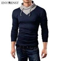 Envmenst Coton T shirt Nouveau 2017 Printemps Automne Homme Collier Spécial T-shirt De Mode À Manches Longues Casual Patchwork T shirt