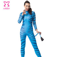 Blue Zebra Print Carnival Party Role Playing Game Adult Fantasy Sexy Animal Costume Halloween Costumes For Women Plus Size S-7XL