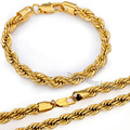 7/8mm ROPE Necklace Bracelet Chain Yellow Gold Filled Necklace Bracelet Jewelry Sets Womens Mens Chain Sets Wholesale GS02