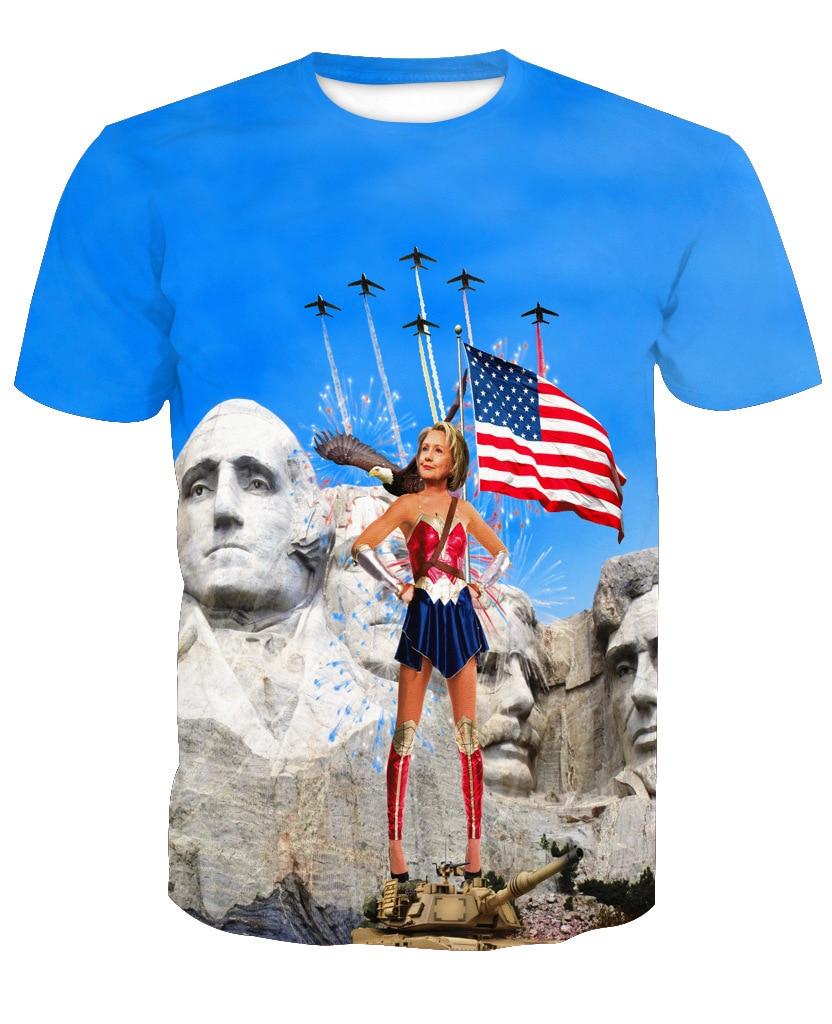 Cool Men/Women T Shirts 3D Print Warrior Hilary Graphic T Shirts Fashion Short Sleeve Clothing Hip Hop Style Tops Plus Size 6XL