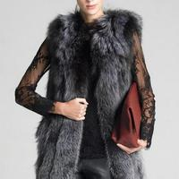 High Quality Fur Vest Coat Luxury Faux Fox Warm Women Coat Vests Winter Fashion Furs Women