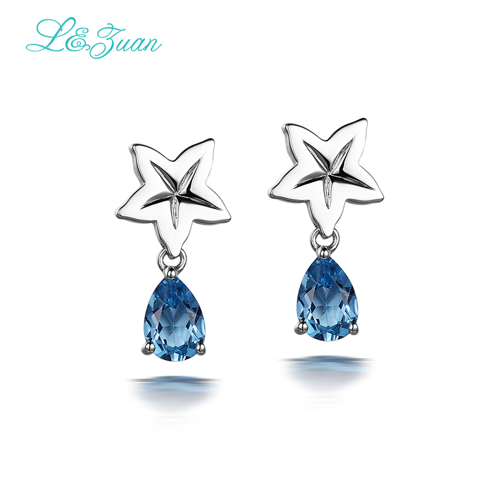 I&Zuan Small star earrings 925 sterling silver natural 1.30ct topaz blue stone stud earring for women fine jewelry as gift все цены