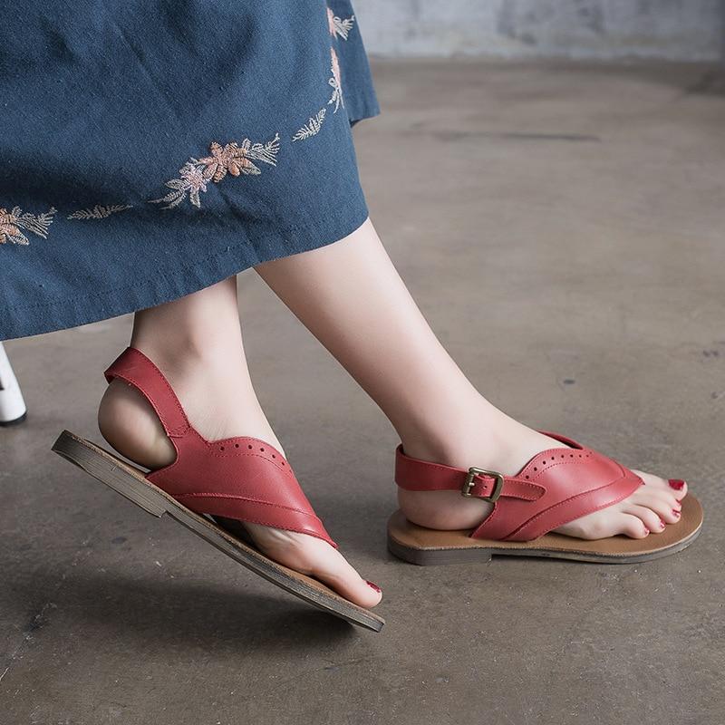 light Sandales Femmes Plates Coffee Plat Boucle D'été Chaussures Fond À De Bascule Dames Cuir Red 2019 Véritable Actmdall ntwxgaqt