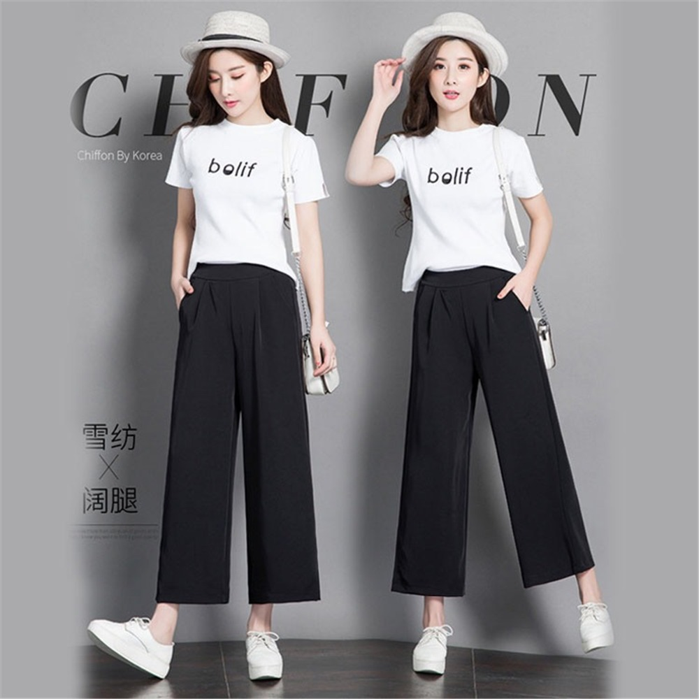 Women   Pants   New High Waist Loose   Wide     Leg     Pants   Women   Leg   Casual Preppy   Pants   Chic Black chiffon cropped nine straight   leg     pants