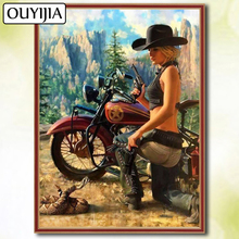 цена на OUYIJIA 5D DIY Diamond Full Square Motorcycle Beauty Halle Moto Cartoon Diamond Embroidery For Sale Picture Of Rhinestone Mosaic