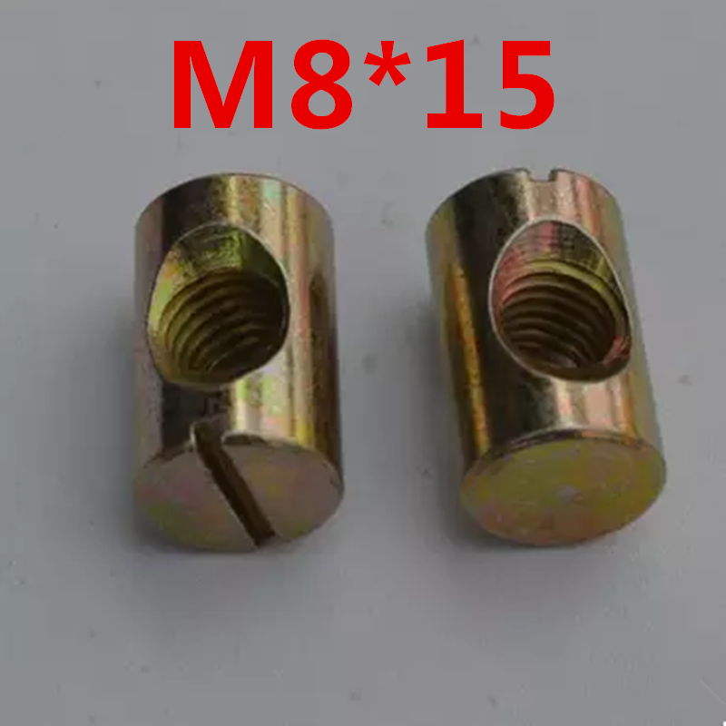 10p <font><b>M8X15</b></font> Barrel Bolts Cross Dowel Slotted Furniture Nut fittings for Beds Crib Chairs Horizontal hole nut hammer embedded nut image