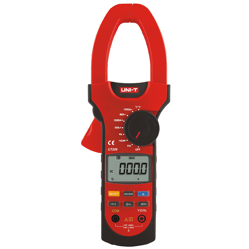UNI-T UT208 6666 Counts LCD Clamp Digital Multimeter AC DC Voltage Amp Ohm Temp Tester 1000A Handheld Clamp Meter uni t ut233 lcd multimetro digital tensao amperimetro tester frequencia 3 phase power clamp meter 1000a 600 v fator