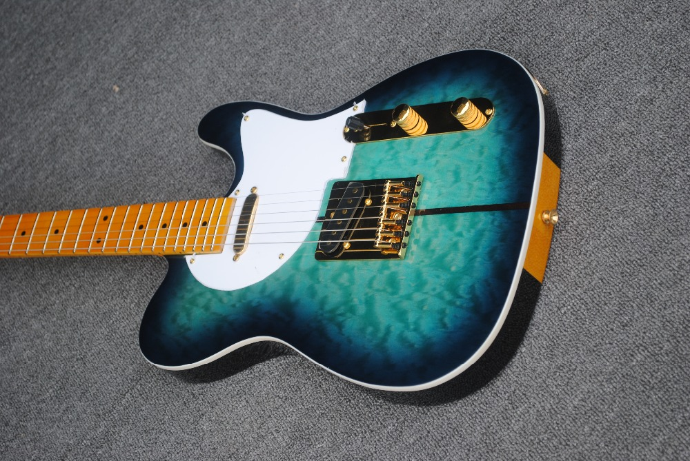 Free Shipping New Tiger maple top Merle Haggard Signature TUFF DOG blue telecaster Electric Guitar with Golden Hardware 17 12