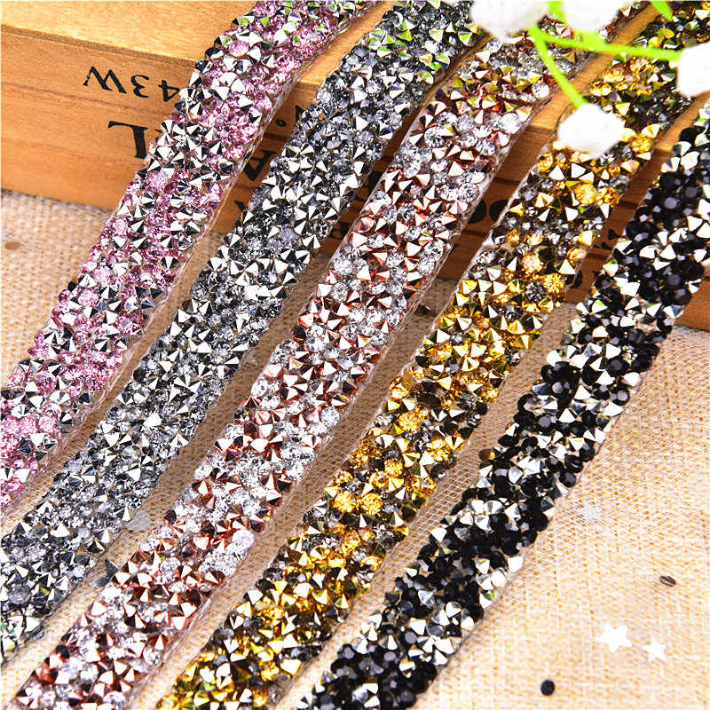 2yard hot-fix gun rhinestone Trim Mesh strass chain crystal gold Banding  bridal applique for 5870102d5da9