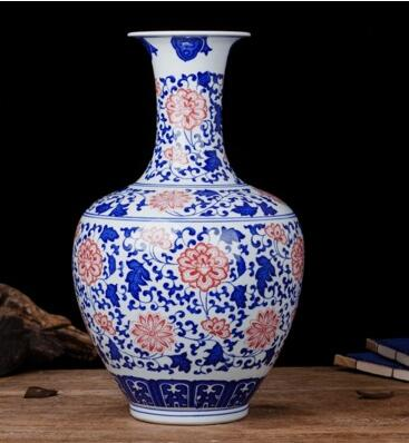 Antique Style Chinese Blue And White Porcelain Vase Large Floor