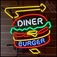 Neon Sign for Diner Burger neon bulb Sign Restaurant Neon lights Sign Hotel Real glass Tube Iconic Bulbs lamp Custom Brand LOGO
