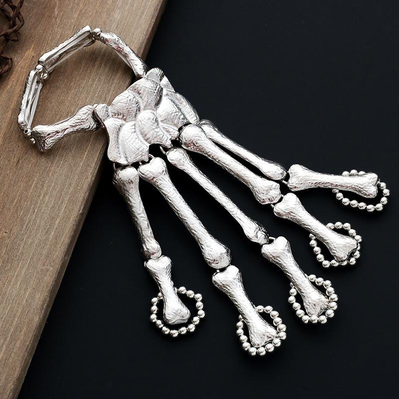 2019. gada pankūka gotiskās galvaskausa rokassprādze ar roku kaulu - Modes rotaslietas - Foto 2