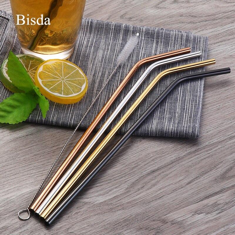 4 piezas Metal pajas de beber reutilizables Acero inoxidable colorido paja + 1 Metal bebida Yerba jugo Bar accesorio del partido