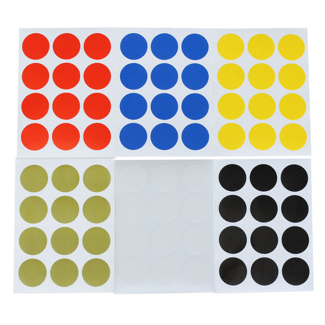 12pcs set 25mm plastic vinyl round code dot blank price stickers circle sticky labels 6