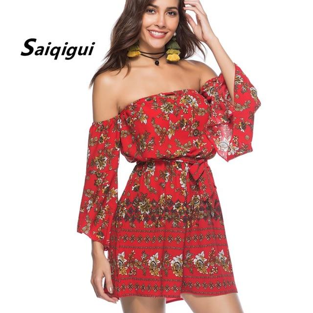 Saiqigui 2018 Новое поступление в богемном стиле пикантные женские комбинезон уличной Slash шеи с плеча Комбинезоны свободные летние пляжные Playsuit