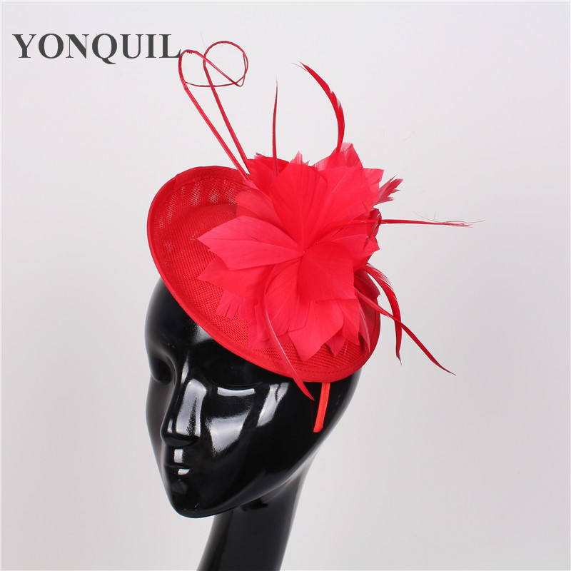 Wedding feather flower fascinator base hats DIY for women with ostrich quill adorned hat party headdress bridal hair accessories free shipping high quality 2015 mini disc flower sinamay fascinator with feather for race
