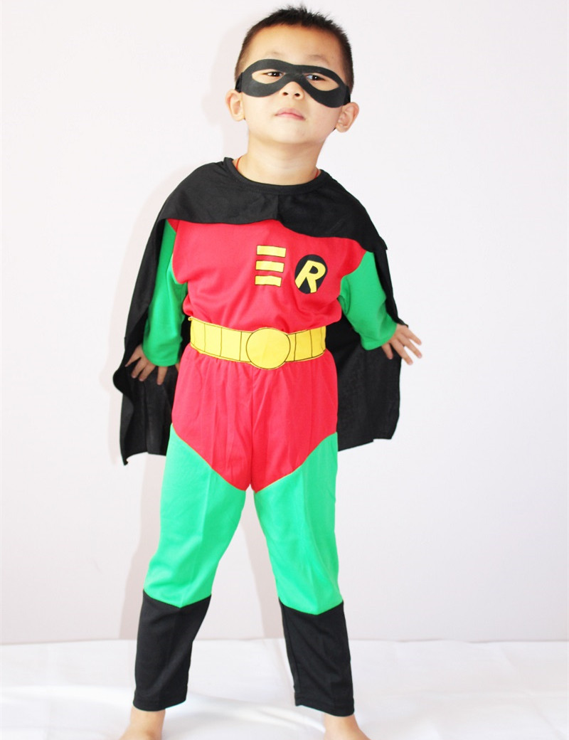 3-7Years Kids Robin Costume Halloween Costume For Boy Robin Muscle Party Cosplay Costume Toddler Clothing Set S-XXL