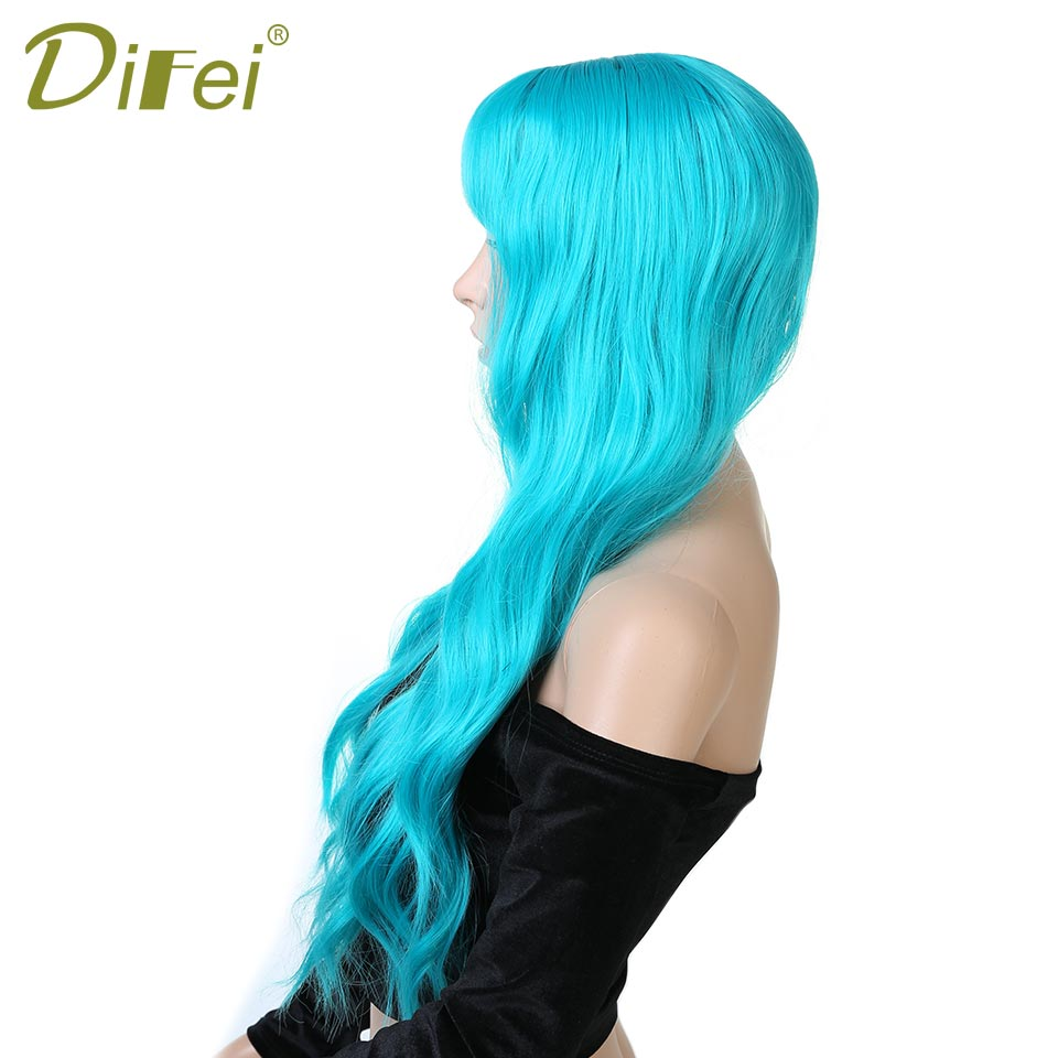DIFEI 26 inch 10 color blond black pink long curly Synthetic Blonde hair extension for Black Women Long Wavy Blonde Hair Wigs