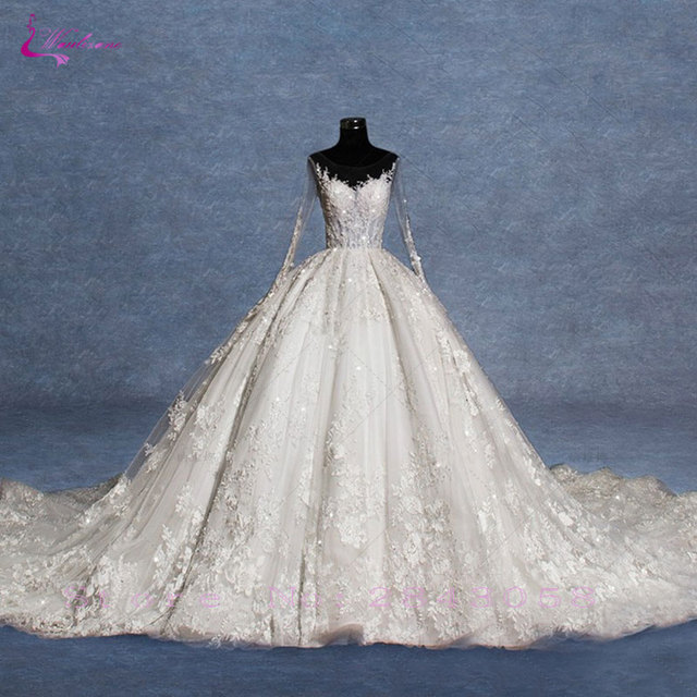 Waulizane Vintage Unique Lace Scoop Ball Gown Vestido De Noiva ...
